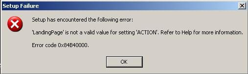 SQL Server 2008 Setup Error Code 0X84B40000